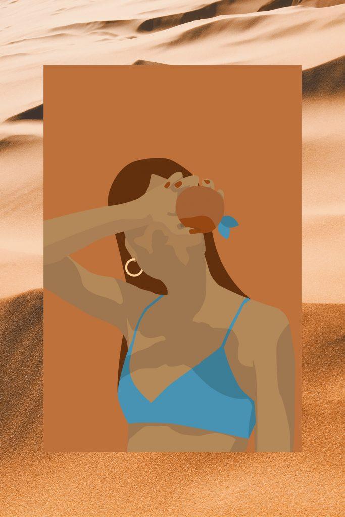 Beach Woman with Orange